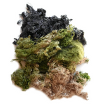 Silk Throwsters Waste Fibre Green Khaki Charcoal Mix 20 grams 12343| Silk Throwster | Sally Ridgway | Shop Wool, Felt and Fibre Online