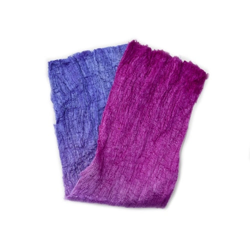 Mulberry Silk Cocoon Sheet Fabric Hand Dyed Crimson and Purple 12682| Silk Cocoon Sheets | Sally Ridgway | Shop Wool, Felt and Fibre Online