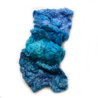 Mulberry Silk Noil Fibre Hand Dyed in Tropical Blue 12666| Silk Noil | Sally Ridgway | Shop Wool, Felt and Fibre Online