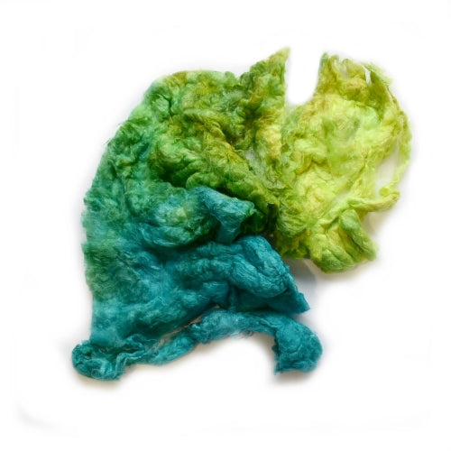 Mulberry Silk Noil Fibre Hand Dyed in Lime Opal blend 12664| Silk Noil | Sally Ridgway | Shop Wool, Felt and Fibre Online