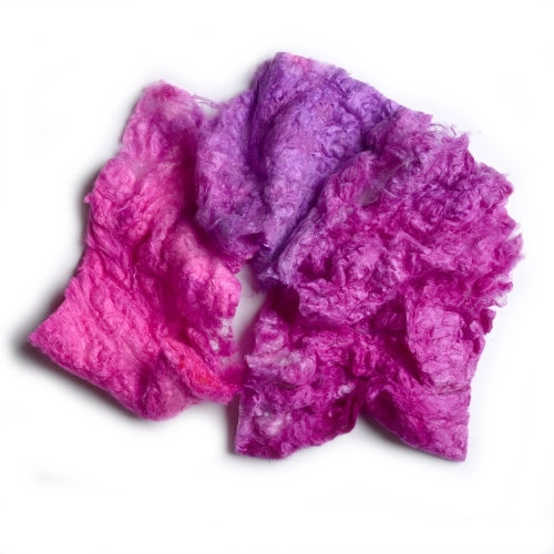 Mulberry Silk Noil Fibre Hand Dyed in Hot Pink and Purple Blend 12261| Silk Noil | Sally Ridgway | Shop Wool, Felt and Fibre Online