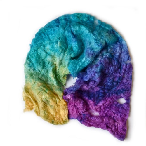 Mulberry Silk Noil Fibre Hand Dyed in Tropical Rainbow 12668| Silk Noil | Sally Ridgway | Shop Wool, Felt and Fibre Online