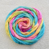 Mulberry Silk Roving Hand Dyed in Rainbow 12969| Silk Roving/Sliver | Sally Ridgway | Shop Wool, Felt and Fibre Online