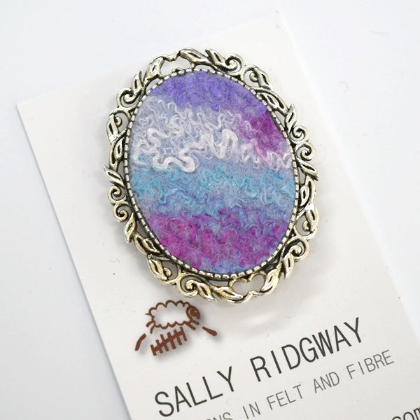Silver Wool Felt and Metal Oval Brooch Pin in Blue and Pink 13026| Brooch | Sally Ridgway | Shop Wool, Felt and Fibre Online