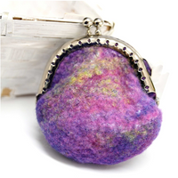 Small Wool Felted Coin Purse Handmade Kiss Lock Purse Rainbow Multi 12545| Coin Purse | Sally Ridgway | Shop Wool, Felt and Fibre Online