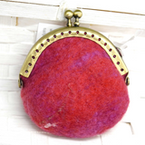 Wool Felted Coin Purse in Orange Multi 12546 | Coin Purse | Sally Ridgway | Shop Wool, Felt and Fibre Online