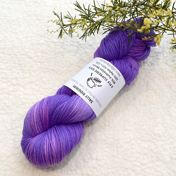 4 Ply Supreme Sock Yarn Hand Dyed Purple Blush 12707| Sock Yarn | Sally Ridgway | Shop Wool, Felt and Fibre Online