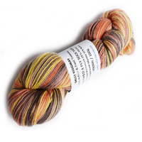 Sock Yarn 4 Ply Hand Dyed Australian Merino + Nylon Yellow Brown Orange 12381| Sock Yarn | Sally Ridgway | Shop Wool, Felt and Fibre Online