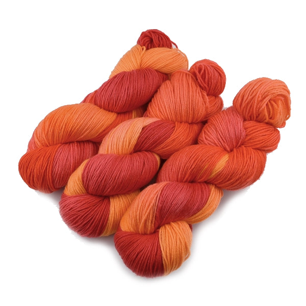 4 ply Supreme Sock Yarn Hand Dyed in Mixed Orange 13115| Sock Yarn | Sally Ridgway | Shop Wool, Felt and Fibre Online