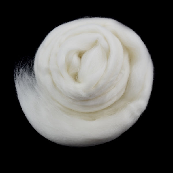 White Superfine Tasmanian Merino Wool Combed Top Natural Undyed 18.5 micron 300 grams| Undyed Wool Roving Top | Sally Ridgway | Shop Wool, Felt and Fibre Online