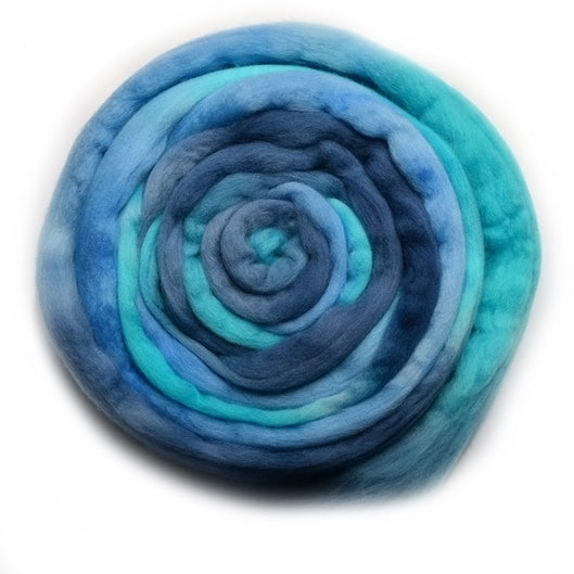 Tasmanian Merino Wool Combed Top Hand Dyed Ocean Blue 12863| Merino Wool Tops | Sally Ridgway | Shop Wool, Felt and Fibre Online