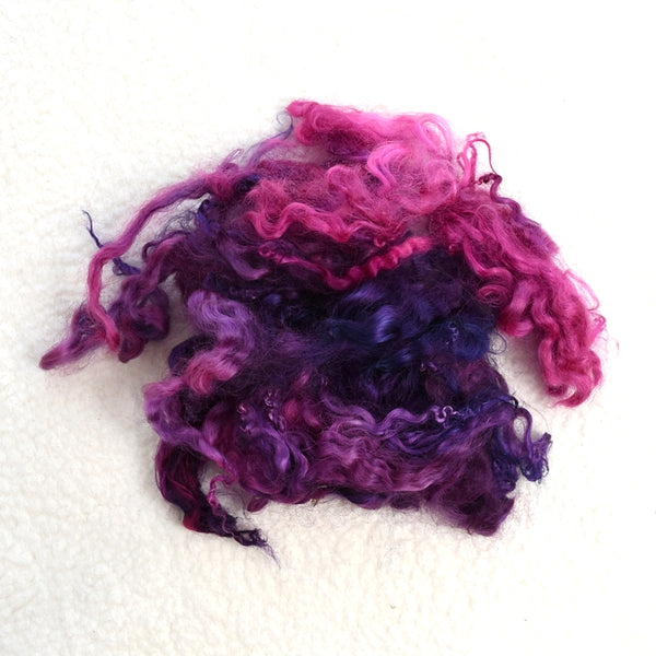 Tasmanian English Leicester Lamb Locks - Plum 13317| English Leicester Wool Tops | Sally Ridgway | Shop Wool, Felt and Fibre Online