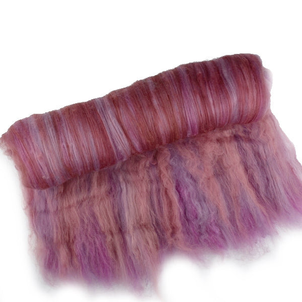 Tasmanian Merino Wool Carded Batts Hand Dyed Pink Mushrooms 13078| Merino Wool Batts | Sally Ridgway | Shop Wool, Felt and Fibre Online