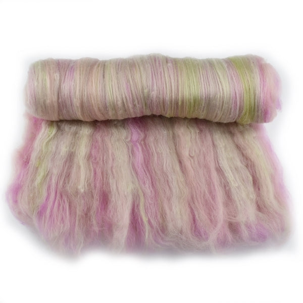 Tasmanian Merino Wool Carded Batts Hand Dyed Pink and Green 13080| Merino Wool Batts | Sally Ridgway | Shop Wool, Felt and Fibre Online
