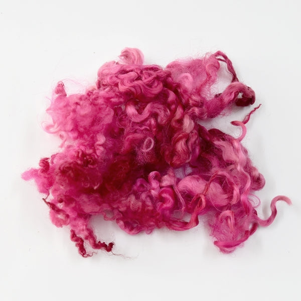 Tasmanian English Leicester Lamb Locks Hand Dyed Pretty Pink 12960| English Leicester Wool Tops | Sally Ridgway | Shop Wool, Felt and Fibre Online