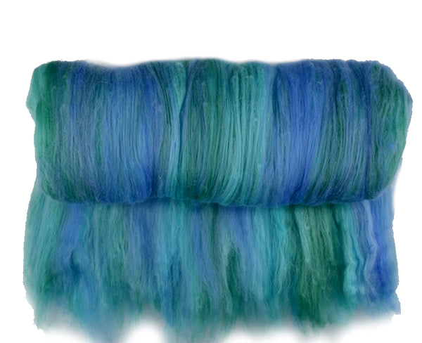 Tasmanian Merino Wool Carded Batts Hand Dyed Blue Opal 13081| Merino Wool Batts | Sally Ridgway | Shop Wool, Felt and Fibre Online