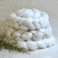 White Tasmanian Merino Wool Combed Top Superfine Non Mulesed 18.5 micron 100 grams| Undyed Wool Roving Top | Sally Ridgway | Shop Wool, Felt and Fibre Online