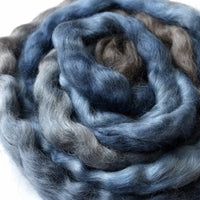 Tasmanian English Leicester Combed Tops Hand Dyed Blue Brown 90 grams 12124| English Leicester Wool Tops | Sally Ridgway | Shop Wool, Felt and Fibre Online