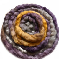 Tasmanian English Leicester Combed Wool Tops Hand Dyed Yellow Purple Mix 12248| English Leicester Wool Tops | Sally Ridgway | Shop Wool, Felt and Fibre Online