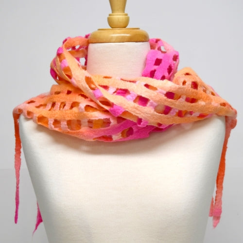 Wool Felt Scarf Australian Merino Wool Apricot Mix 12256| Wool Felt Scarves | Sally Ridgway | Shop Wool, Felt and Fibre Online