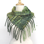 Wool Felt Scarf Wrap Hand Made from Australian Merino Wool Green Mix 12262| Wool Felt Scarves | Sally Ridgway | Shop Wool, Felt and Fibre Online