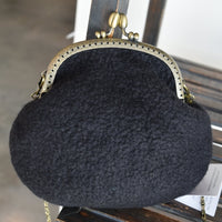 Wool Felted Clutch Purse After Five Shoulder Bag in Black Green Brown 12157| Wool Felt Bags | Sally Ridgway | Shop Wool, Felt and Fibre Online