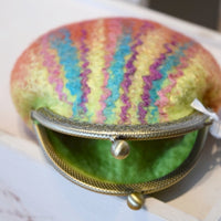 Wool Felted Kiss Lock Coin Purse Orange Green Multi 12312| Coin Purse | Sally Ridgway | Shop Wool, Felt and Fibre Online