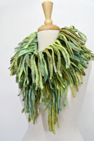 Wool Felted Scarf Boa Wrap Chunky Australian Merino Felt Green Mix 12264| Wool Felt Scarves | Sally Ridgway | Shop Wool, Felt and Fibre Online