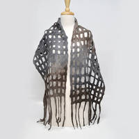 Wool Felted Scarf Shawl Wrap Australian Merino Wool Brown Grey 11604| Wool Felt Scarves | Sally Ridgway | Shop Wool, Felt and Fibre Online