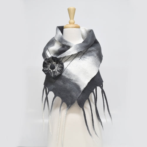 Wool Felted Scarf Wrap Australian Merino Felt Scarf Charcoal Cream Mix 12263| Wool Felt Scarves | Sally Ridgway | Shop Wool, Felt and Fibre Online