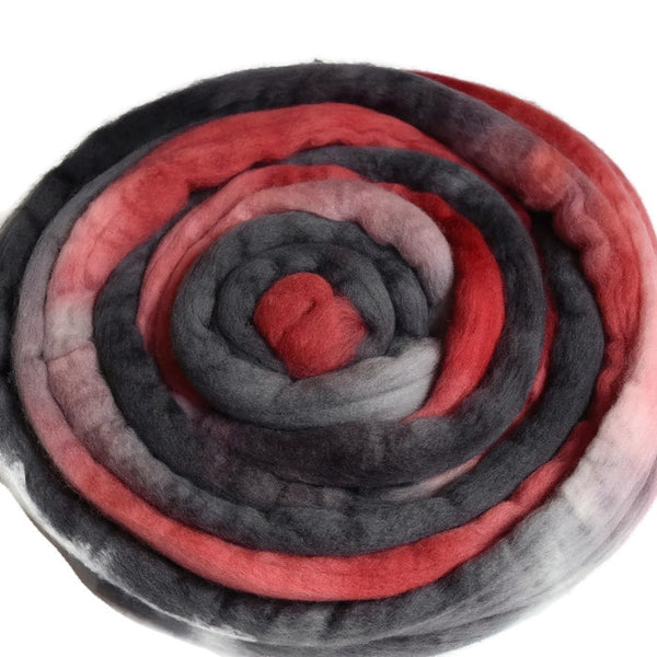 Wool Roving Australian Merino Combed Top Red Charcoal 12355| Merino wool tops | Sally Ridgway | Shop Wool, Felt and Fibre Online