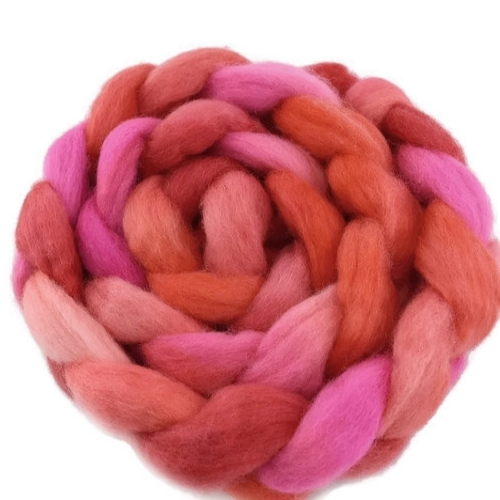 Wool Roving Corriedale Hand Dyed Hot Pink Mix 12408| Corriedale Wool | Sally Ridgway | Shop Wool, Felt and Fibre Online