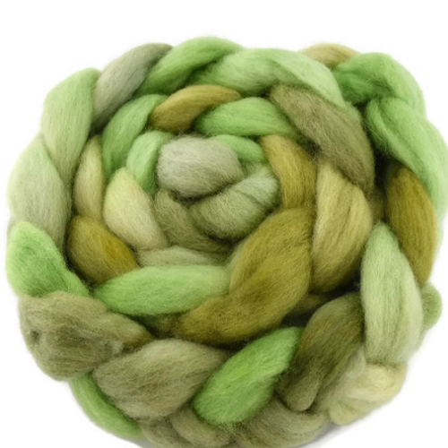 Wool Roving Sliver Top Corriedale Hand Dyed Green Mix 12406| Corriedale Wool | Sally Ridgway | Shop Wool, Felt and Fibre Online
