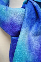 Opal Blue and Purple Wool Felted Scarf or Wrap 12939| Wool Felt Scarves | Sally Ridgway | Shop Wool, Felt and Fibre Online