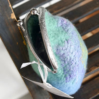Wool felted purse in blue & green 12155| Coin Purse | Sally Ridgway | Shop Wool, Felt and Fibre Online