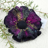 Black Large Wool Felt Flower Brooch Pin 13230| Brooch | Sally Ridgway | Shop Wool, Felt and Fibre Online