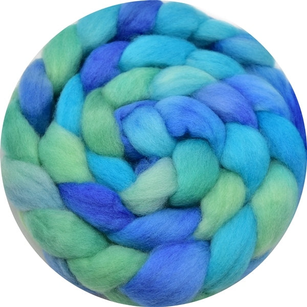 Corriedale Wool Top Roving Sliver Hand Dyed Ocean Blue Green 100 Grams 12759| Corriedale Wool | Sally Ridgway | Shop Wool, Felt and Fibre Online