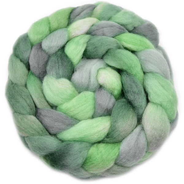 Corriedale Wool Top Roving Sliver Hand Dyed Dusty Green 100 Grams 12760| Corriedale Wool | Sally Ridgway | Shop Wool, Felt and Fibre Online