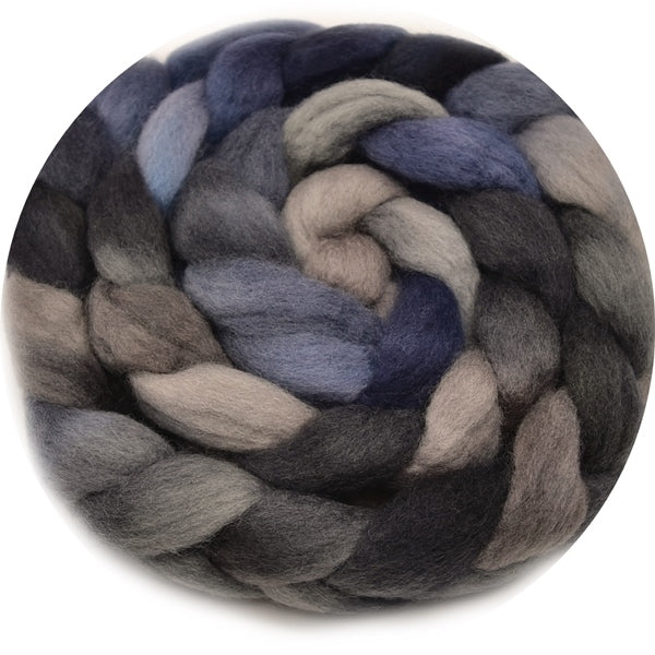 Corriedale Wool Top Roving Sliver Hand Dyed Blue Steel 100 Grams 12763| Corriedale Wool | Sally Ridgway | Shop Wool, Felt and Fibre Online