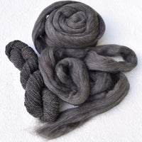Dark Grey Merino and Corriedale Blend Combed Wool Top ABP 17| Undyed Wool Roving Top | Sally Ridgway | Shop Wool, Felt and Fibre Online