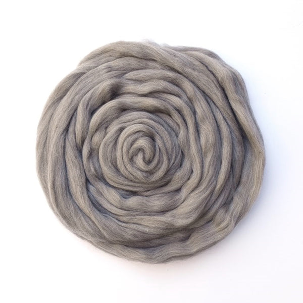Grey Merino and Corriedale Blend Combed Wool Top ABP 16| Undyed Wool Roving Top | Sally Ridgway | Shop Wool, Felt and Fibre Online