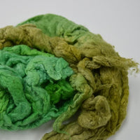 Green hand dyed mulberry silk fiber for spinning felting fibre arts carding