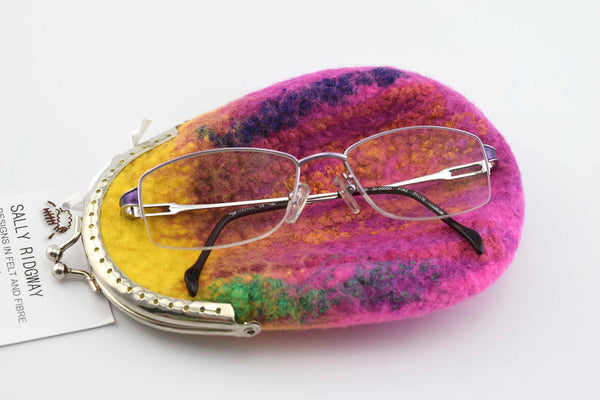 Wool felted purse in pink & yellow small eyeglass pouch 12153