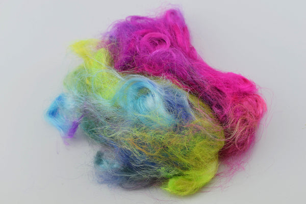 Firestar Trilobal nylon fibre spinning felting needle felting fibre arts carding blending fibre Pink purple green blue Mix 20g 12144| | Sally Ridgway | Shop Wool, Felt and Fibre Online