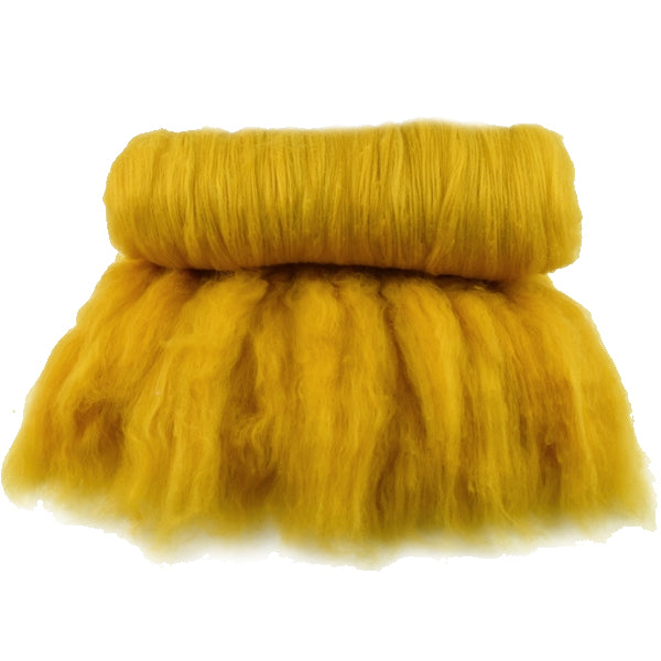 Tasmanian Merino Wool Carded Batts Hand Dyed Golden Yellow 13232| Merino Wool Batts | Sally Ridgway | Shop Wool, Felt and Fibre Online