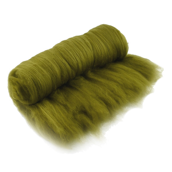 Tasmanian Merino Wool Carded Batts Hand Dyed Moss Green 13233| Merino Wool Batts | Sally Ridgway | Shop Wool, Felt and Fibre Online