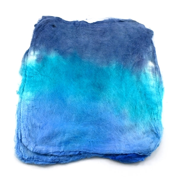 Mulberry Silk Hankies Hand Dyed Blue Sky 12872| Silk Hankies | Sally Ridgway | Shop Wool, Felt and Fibre Online