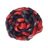 Mulberry Silk Roving Hand Dyed in Black and Red 13092| Silk Roving/Sliver | Sally Ridgway | Shop Wool, Felt and Fibre Online