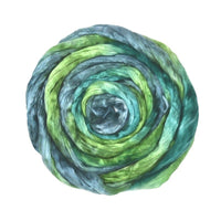 Mulberry Silk Roving Hand Dyed in Shamrock 13415| Silk Roving/Sliver | Sally Ridgway | Shop Wool, Felt and Fibre Online