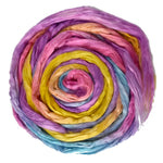 Mulberry Silk Roving Hand Dyed in Pink Rainbow 12970| Silk Roving/Sliver | Sally Ridgway | Shop Wool, Felt and Fibre Online